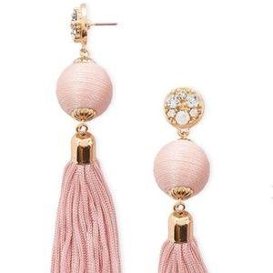 Pink Gold Sparkly Rhinestone Tassel Drop Earrings
